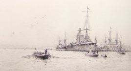 THE PASSING OF A GREAT ARTIST WL WYLLIES COFFIN PASSES UP PORTSMOUTH HARBOUR ENROUTE TO PORTCHESTER CASTLE, 1931
