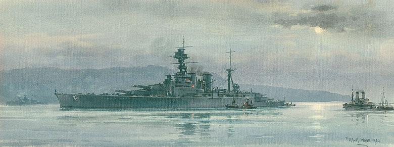 HMS HOOD UNDERWAY - PORTLAND HARBOUR
