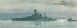 HMS HOOD UNDERWAY - PORTLAND HARBOUR