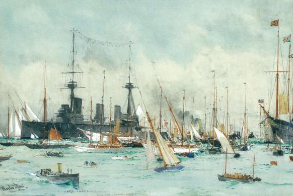 HMS INDEFATIGABLE AT COWES, 1912