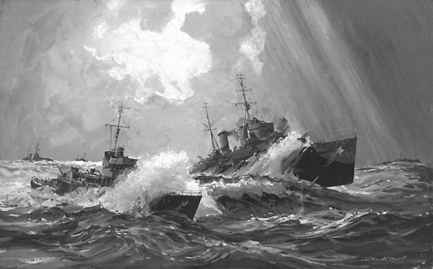 HMS CHARYBDIS IN A CHANNEL GALE, 1943