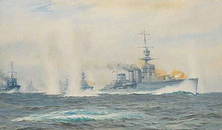 HMS CARDIFF IN ACTION IN THE HELIGOLAND BIGHT, 191