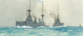 HMS LION AND HMS INDEFATIGABLE AT SEA, JULY 1912