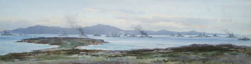 SCAPA  FLOW  - THE GERMAN FLEET LIES AT ANCHOR