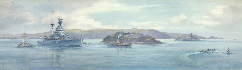 HMS RESOLUTION ENTERING PLYMOUTH, 1936