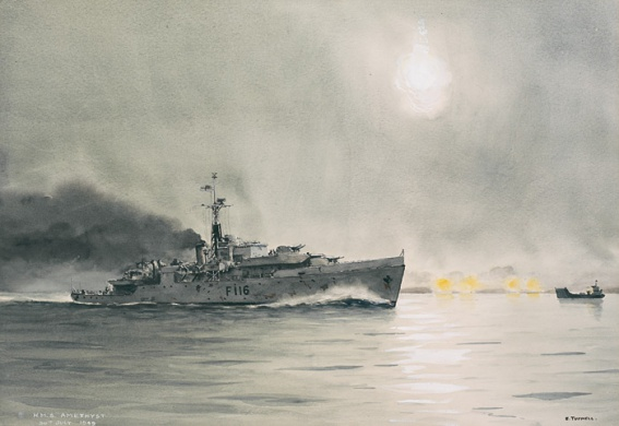 HMS AMETHYST BREAKS OUT OF THE YANGTZE RIVER