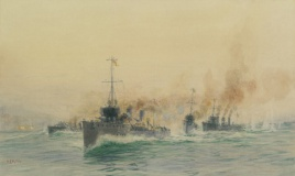 DESTROYERS ENGAGING THE GERMAN CRUISER MAINZ, 28th