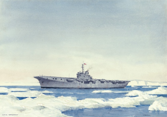 HMS VENGEANCE IN ARCTIC WATERS, 1949