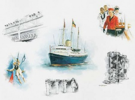 HM YACHT BRITANNIA WATERCOLOUR WITH VIGNETTES