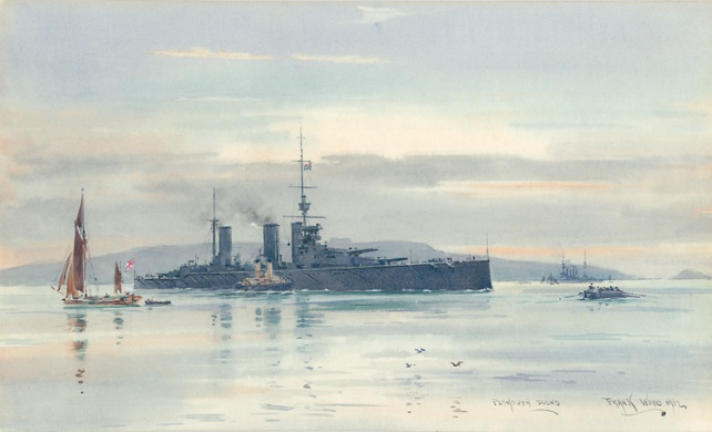 PLYMOUTH SOUND 1912 -  HMS LION COMING UP HARBOUR