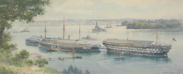 DEVONPORT, THE HAMOAZE AND HMS DEFIANCE OFF WEARDE