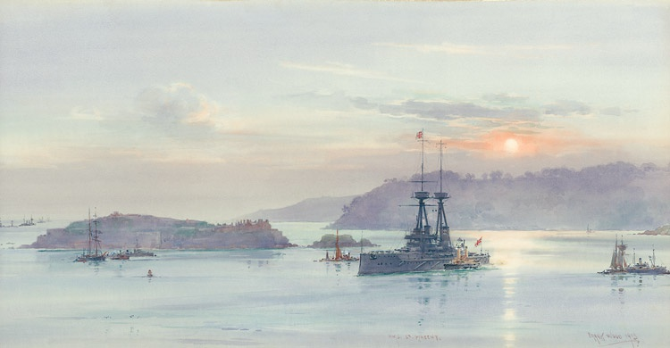 PLYMOUTH 1913  HMS ST VINCENT SAILS ON THE EVENING TIDE