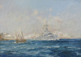 HOMEWARD BOUND: HMS AMETHYST LEAVING MALTA, OCTOBE