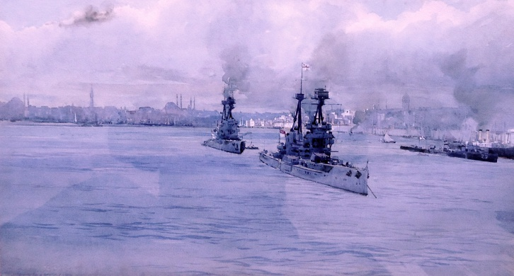 HM Battleships SUPERB & TEMERAIRE in Constantinople for Surrender Talks, November 1918