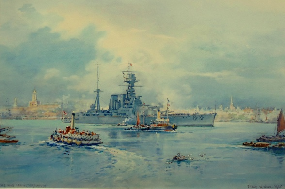 HMS HOOD sails from Portsmouth,  Summer1935