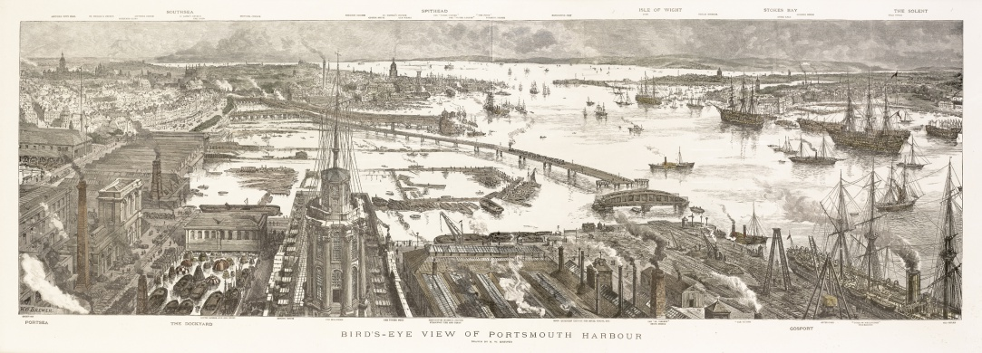 Portsmouth Harbour: Birds Eye View c.1885
