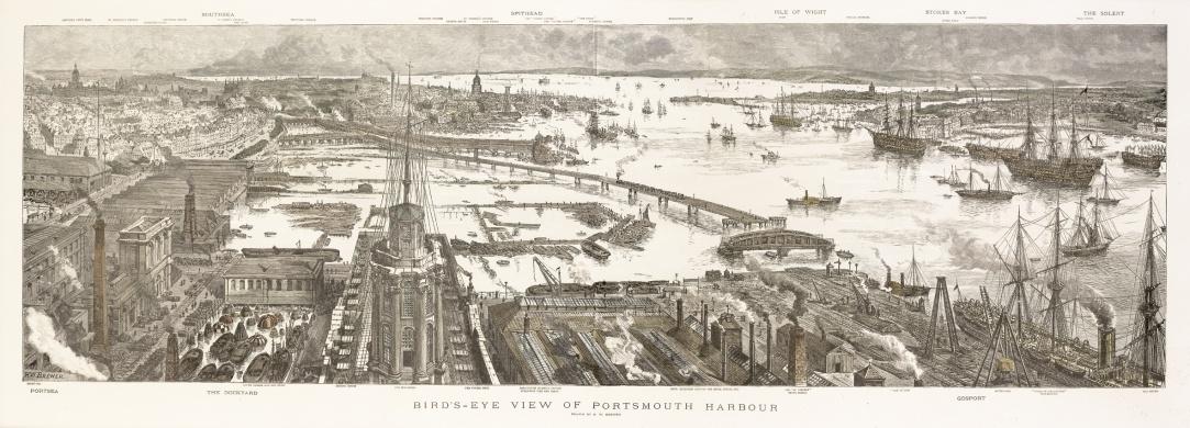 Portsmouth Harbour: Birds Eye View c.1885