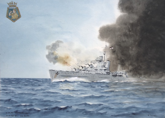 HMS EURYALUS in action and making smoke: 2nd Battle of Sirte, 22 March 1942