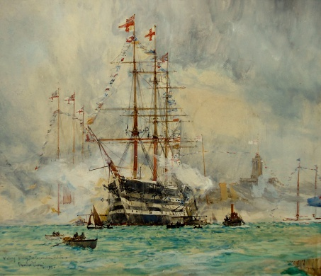 HMS VICTORY Firing the Coronation Salute, 1911