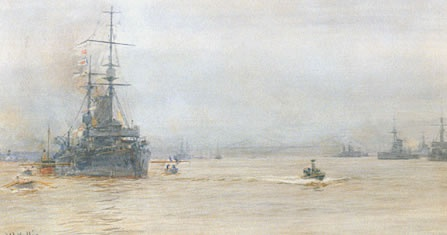 CAPITAL SHIPS IN THE FIRTH OF FORTH c1915