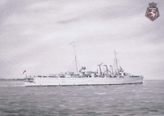 HMS KENT flying paying off pennant 1930s