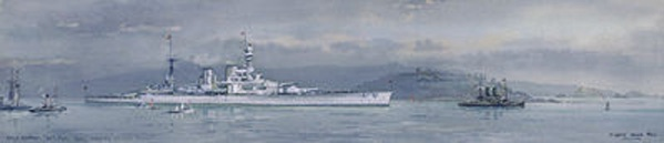 HMS RENOWN wearing the Standard of HRH The Prince