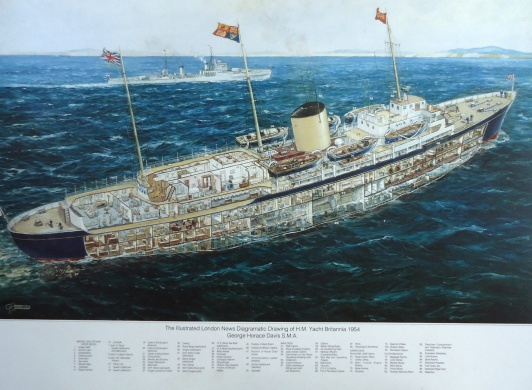 The Royal Yacht BRITANNIA: cut- away drawing of 1954 by G H Davis