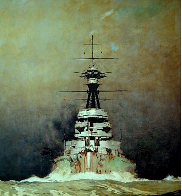 HMS REVENGE Coming out of a Squall, 1924