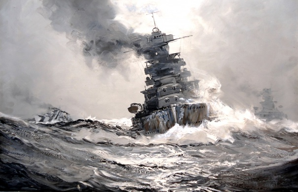 British Battleship in Heavy Weather