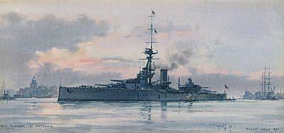 HMS THUNDERER entering Portsmouth 1921; HMS VICTOR