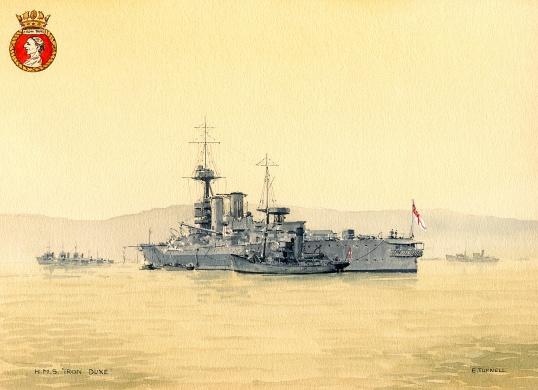 HMS IRON DUKE, becalmed