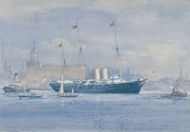 HMY VICTORIA & ALBERT DEPARTS FROM PORTSMOUTH FOR