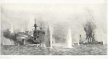 HMS WARSPITE AND HMS WARRIOR UNDER HEAVY FIRE, JUT