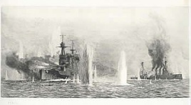HMS WARSPITE AND HMS WARRIOR UNDER HEAVY FIRE, JUT