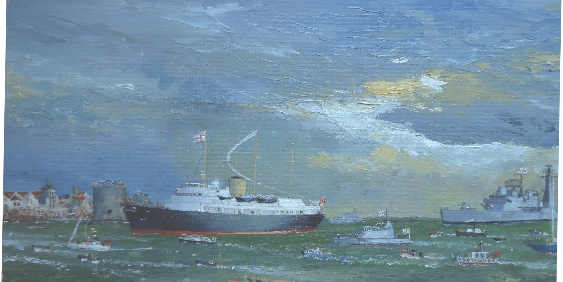 Royal Yacht  BRITANNIA returns for the final time to Portsmouth, 22nd November 1997