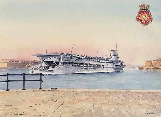 HMS GLORIOUS arriving in Grand Harbour Malta, 1930s