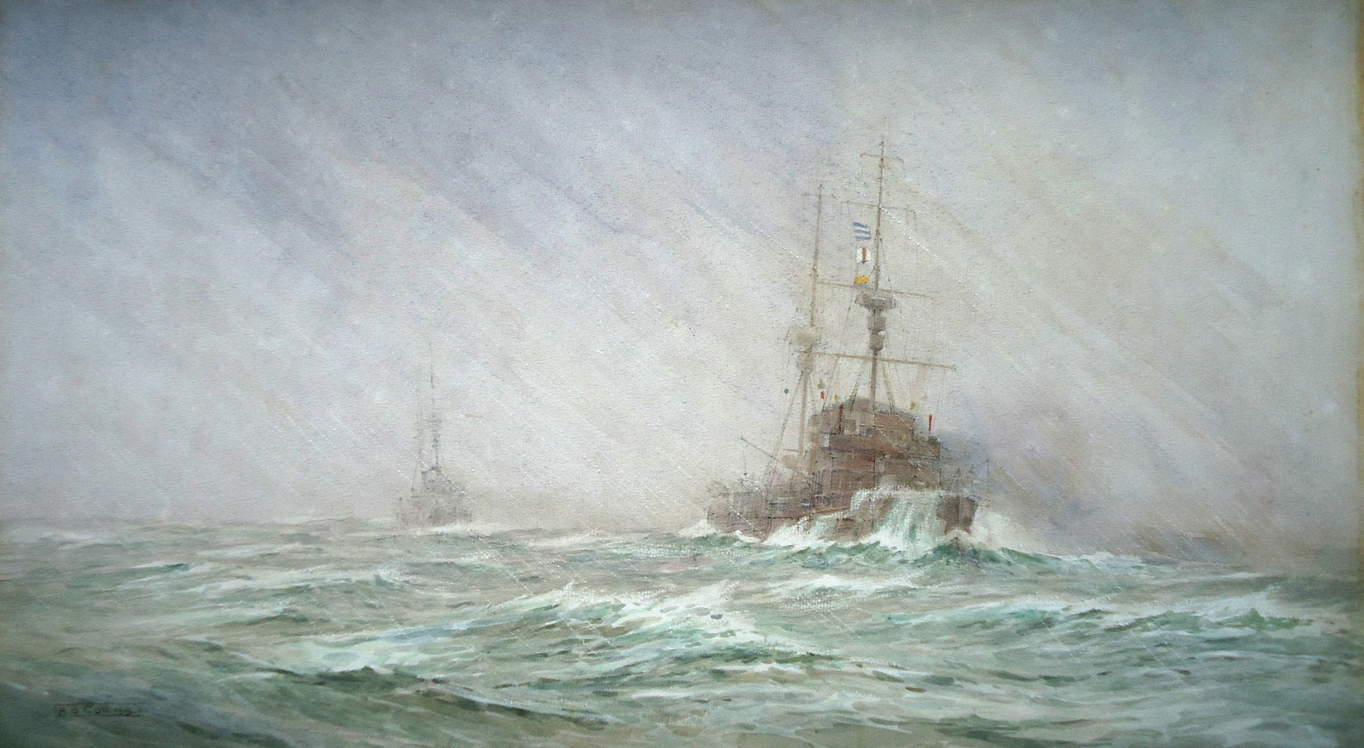 HMS NATAL and cruiser squadron in filthy weather