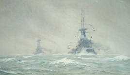 HMS VANGUARD (1909), with sister ship of St Vincent Class in dirty weather and sleet flurries