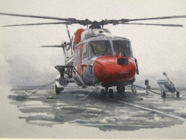 HMS ENDURANCE's Lynx helicopter 2008.  In Antarctica