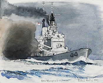 HMS VANGUARD OFF MALTA, 1949