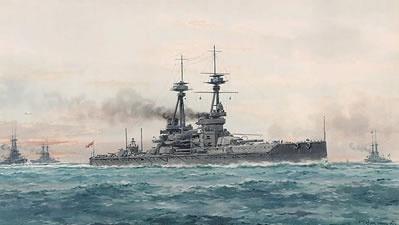 HMS COLLINGWOOD at sea in 1915