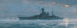 HMS HOOD UNDERWAY AFTER SUNSET, 1921