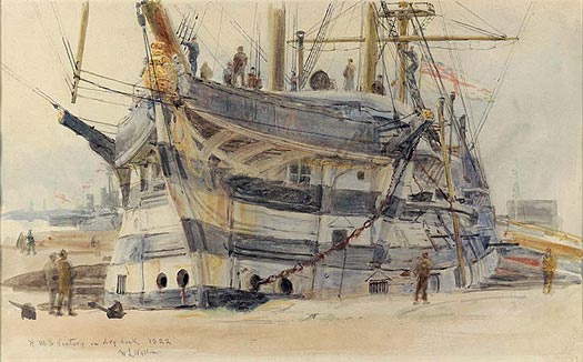 HMS VICTORY IN DRY DOCK 1922
