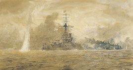HMS MARLBOROUGH GOING INTO ACTION AT JUTLAND