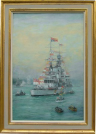 HMS RENOWN with Court Flags
