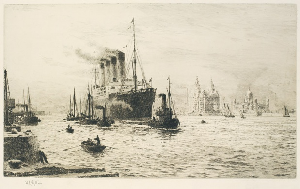 RMS MAURETANIA ARRIVING AT LIVERPOOL