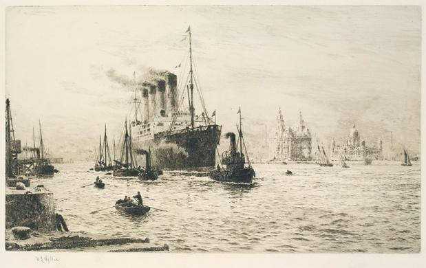 RMS MAURETANIA ARRIVING AT LIVERPOOL